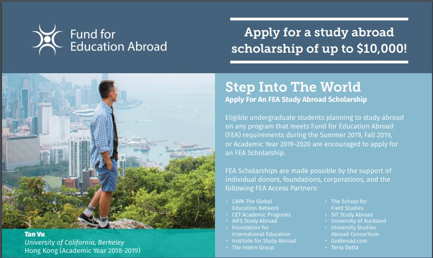 FEA Scholarship Accepting Applications for Summer'19, Fall'19 or Full-year 19-20