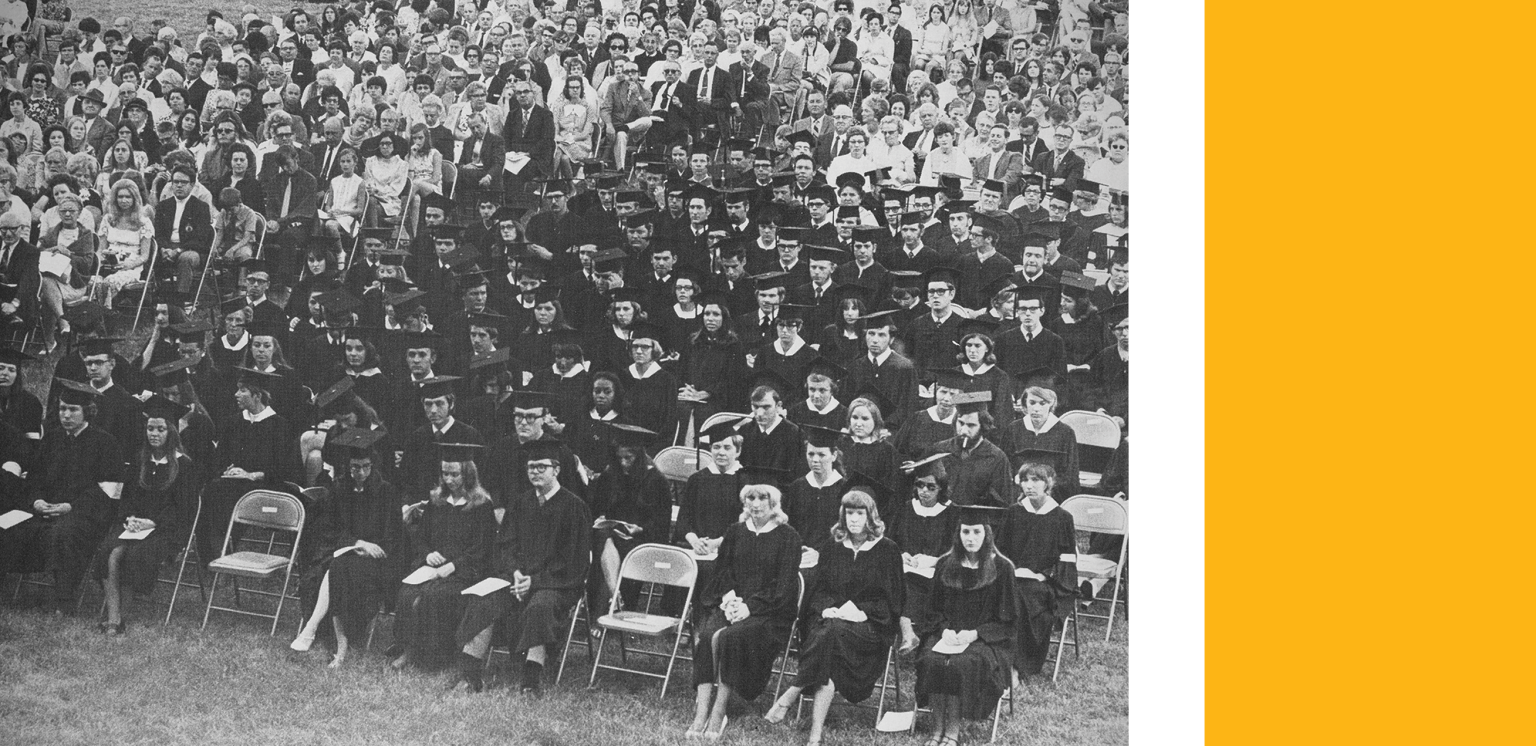 black and white photo of graduation for the class of 1970